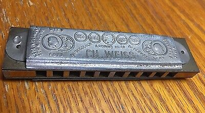 Antique Rare Ch. Weiss . New World Harmonica Made In Germany.