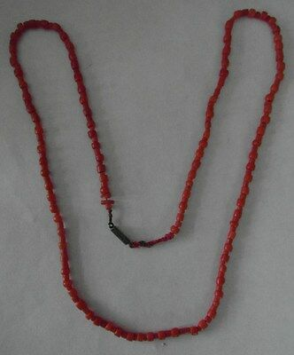 """Sweet Victorian Antique Coral Bead Necklace - Silver Clasp - 24"""" long"""