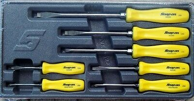 New Snap On 7 Piece YELLOW Hard Handle Combination Screwdriver Set SDDX70AY