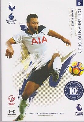 2017 Tottenham V Middlesbrough + Teamsheet