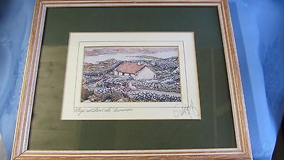 Signed Framed Print by Philip Gray 'Cottages and stone walls' Connemara