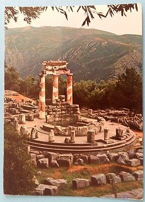 Greece postcard: Delphi. Temple of Athena Pronea, posted with stamps.
