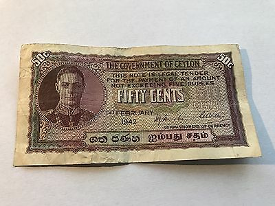 Ceylon 1942  Fifty Cents Bank Note