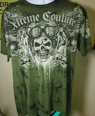 Xtreme Couture Skulls Angels Airplanes T-Shirt Green Size Adult Large
