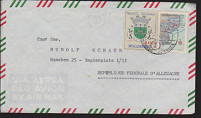 Mozambique, mixed franked Airmail, Map, Coat of Arms, 1968. MiF - Landkarte