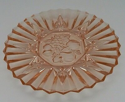 "Federal Glass Pink Pioneer Line #28068"" Luncheon Plate Intaglio Fruit Center"