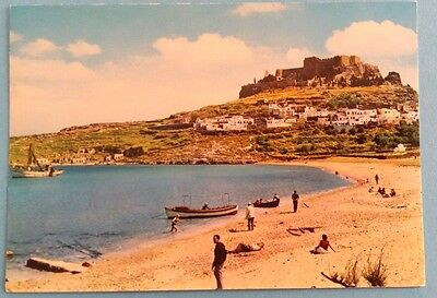 Greece postcard: Rhodes, view of Lindos, posted.