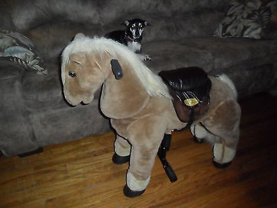 Little Tikes Giddy Up N Go Pony Faux Fur Ride On Toy Horse Travels Moves SFX