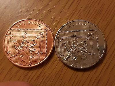 Silver 2p two pence coin - 2015
