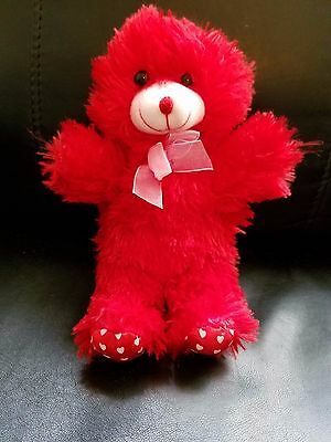 """Fuzzy Friends/Greenbrier International Red Bear with hearts on the feet - 9"""""""