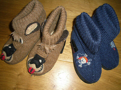 X2 Pairs Giesswein Childrens Slippers, Blue With Pirates And Brown Dog Character