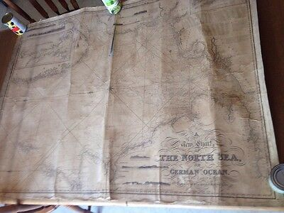 Huge Antique 1846 Map A New Chart Of The North Sea Blachford & Imray