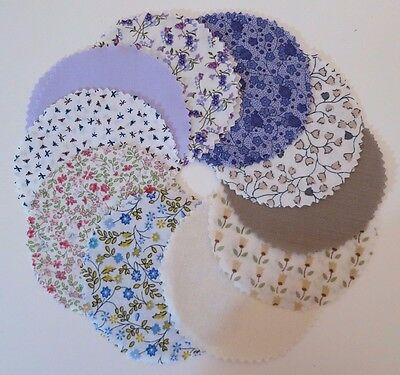 20 Homemade ~ MINI ~ mixed jam jar covers with rubber bands.