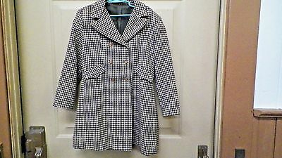 Vintage 1940S~1950S  Girls Brown Cream Checked Coat ~Nice~Nr
