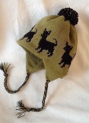 CHIHUAHUA dog NEW knitted lined SAGE GREEN ADULT SIZE TRAPPER EAR FLAP HAT