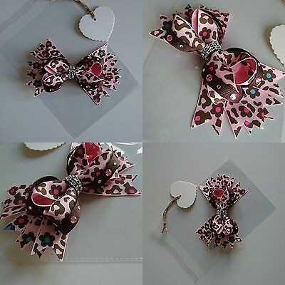 Large Oversized Pink Leopard Print Stack Hair Bow Jojo Clip Boutique Handmade