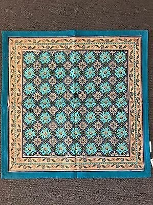 Table Napkin Cotton Blue Gold Teal Turquoise Set Of 4 Boho Moroccan Brand New