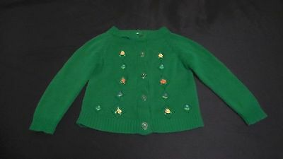True Vintage Girls Sweater 4 Green Embroidered Floral F.W Wo#lworth No Reserve