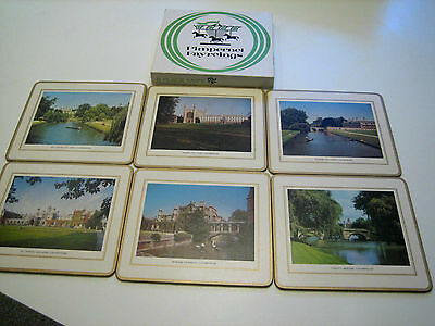 Vintage Set 6 boxed Pimpernel Fayerings Cork Place Mats Cambridge University UK