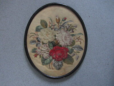 Antique Victorian Wool Silk Beaded Needlepoint Embroidery