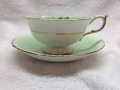 Gorgeous Paragon Green Pink Cabbage Rose Footed Tea cup and saucer