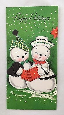 Vintage Christmas Card Cute Mr. & Mrs. Snowman Caroling Singing Poinsettia Hat