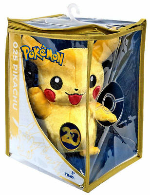 "Tomy Pokemon 20th Anniversary Limited Edition 8"" Waving Pikachu Plush"