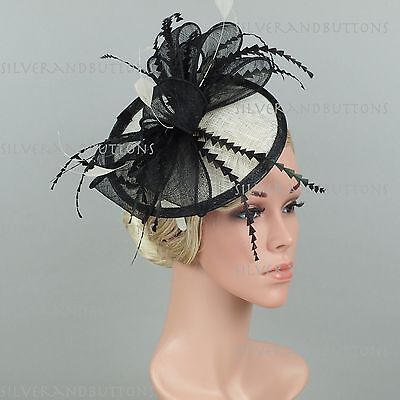 New Sinamay Church Feather and Large Bow Disc Fascinator Hat Headband