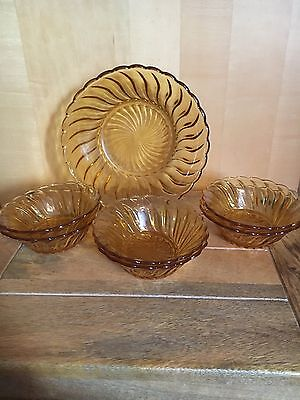 Amber Glass Swirl Trifle Bowl And 6 Dishes Set