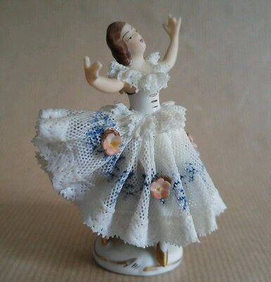 "Dresden 3"" porcelain ""dancer"" lace figure vintage RARE"