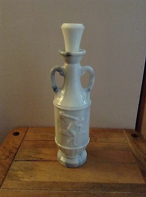 Jim Beam Whiskey Bourbon Decanter C1971 White Marbled Glass Discus Player