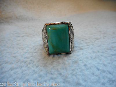 Vintage Bell Sterling Silver Native American Ring Green Stone  11.4  grams