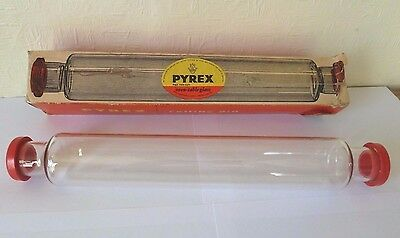 Vintage Retro Jaj Pyrex Glass Rolling Pin With Box