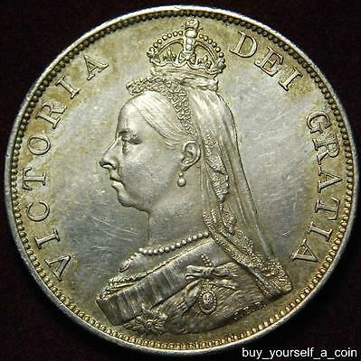 GB Queen Victoria silver double florin 1887 `Arabic 1` - high grade