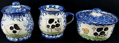 Molly Dalls Spatterware Spongeware Folk Art Creamer And Two Lidded Bowls Cow Pig