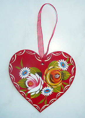 Canalware Canal barge ware Narrowboat - wooden hanging heart decoration red
