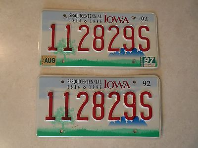 Iowa License Plate Pair 1996 Sesquicentennial Raised Number Embossed State Issue