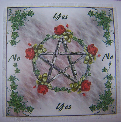 Pentacle Rose Red Scrying/Dowsing Mat, for use with a pendulum Wicca divination