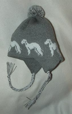 BEDLINGTON TERRIER dog NEW knitted lined MID GREY ADULT TRAPPER EAR FLAP HAT