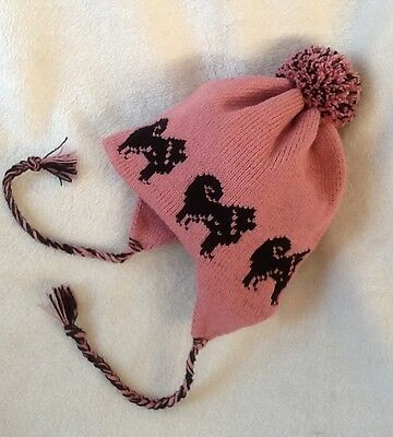 CHOW CHOW dog NEW knitted lined DUSKY PINK ADULT SIZE TRAPPER EAR FLAP HAT