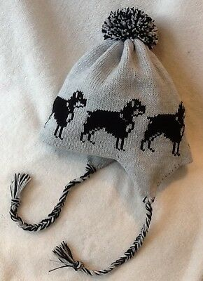 ROTTWEILER  dog  Knitted lined SILVER GREY ADULT TRAPPER EAR FLAP HAT