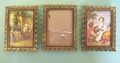 3 Vintage MATCHING Ornate Filigree Gold Tone Metal ITALY picture frame Easel bac
