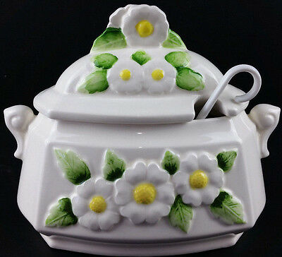 Vintage White Soup Tureen With Daisies Daisy Flowers Ceramic