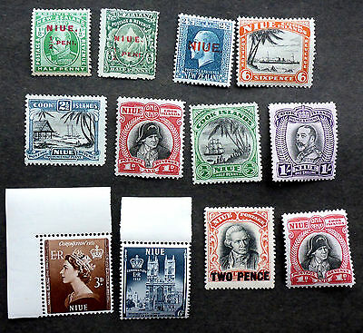 Nuie (New Zealand)  S.g.  #123-4 Mint + Earlier Overprint Issues Cat.$24
