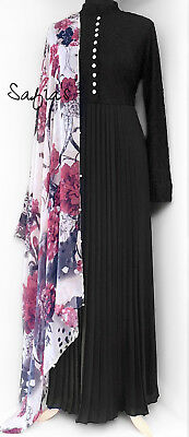 Black Pleated Chiffon & Lace Abaya Jilbab