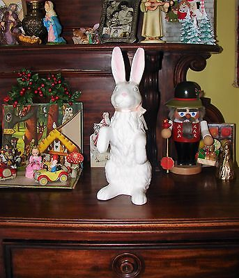 """Vintage Ceramic Easter Bunny Rabbit Standing 14"""" Tall Purchased in Germany"""