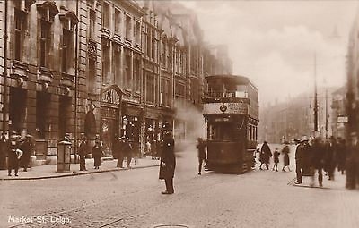 RP Postcard. Tram in Market Street,  LEIGH. Posted 1947.