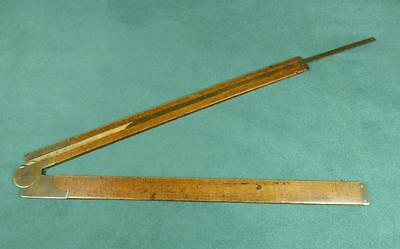 "CARPENTERS TWO FOOT Folding ""Warranted Boxwood"" & BRASS SLIDE RULE/ RULER"