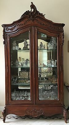Antique French Louis XV Style Knockdown Armoire Display Cabinet Vitrine