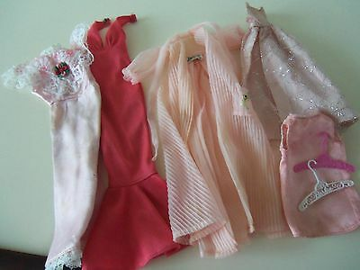 Barbie vintage dolls clothes - 60's x 5 - Pink - negligee, evening dresses,tops